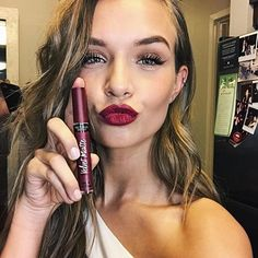 matte lipstick obsessed! by @victoriassecret glam ready for tonight! thank you @taliasparrowmakeup & @daniellepriano josephine skriver makeup