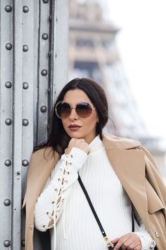 Chloé Carlina sunglasses and white turtleneck dress with lace-up sleeves