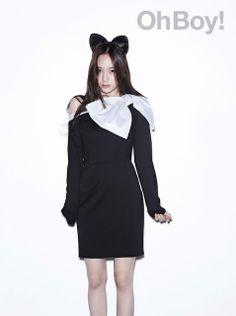 Krystal Jung Oh Boy Black Bow Cat Ears