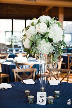 Organic Green & White Centerpiece with peonies, hydrangea and eucalyptus at the Bridgeport Art Center Wedding