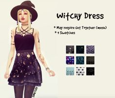 A late Simblreen gift. The mesh may require Get Together to work. It has 9 witchy skirt patterns. Im new to making CC so please let me know if there are any issues! Download [Mediafire]