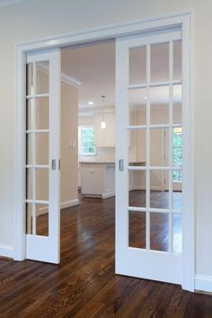 French Pocket Doors Home Office Contemporary with Curtains and Drapes – For the house French Pocket Doors, Double Pocket Door, Glass Pocket Doors, Double Glass Doors, Glass Panel Door, Glass Panels, Interior Panel Doors, Double Doors Interior, Interior Barn Doors