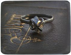 BETROTHED. Handmade Goth Engagement Ring Herkimer by Chymiera