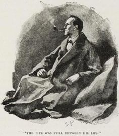 "Sherlock Holmes as depicted by the Sidney Paget illustration from ""The Man with the Twisted Lip"" by Arthur Conan Doyle. In the Strand, December 1891."