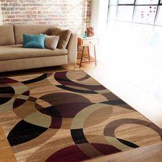 Contemporary Modern Circles Multi Area Abstract Rug (5'3 x 7'3)