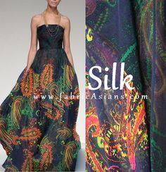 SALE - Pure Silk. Black Paisley Silk Chiffon. Rich color, smooth, beautiful drape, matt surface, sheer. Ideal for making evening dress, summer vest,