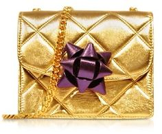 Marc Jacobs Quilted Gold Laminate Party Bow Mini Trouble Shoulder Bag / mini shoulder on ShopStyle