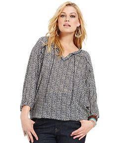 Lucky Brand Jeans Plus Size Top, Three-Quarter-Sleeve Tribal-Print Peasant - Plus Size Tops - Plus Sizes - Macy's $80