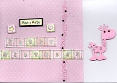 This card is great for an early years birthday card for a little girl complete with a cute die cut giraffe and block letter message.