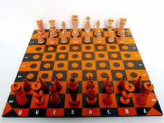Chessboard using discarded materials provided by clients.
