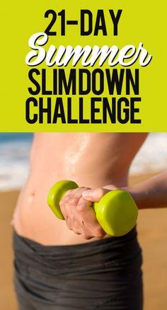 21 Day Summer Slim Down Challenge - start NOW! #summerslimdown #workouts #weightloss