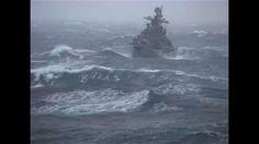 Russian Destroyer war ship in storm. North Atlantic trip in 2004