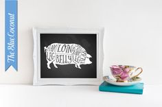 Chalkboard meat cuts pig pork art for your kitchen. The printable sign is for you to print at home or at your favorite print shop sizes 11x14,
