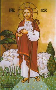 The Good Shepherd Christian Drawings, Christian Images, Christian Art, Religious Images, Religious Icons, Religious Art, Christ The Good Shepherd, Monastery Icons, Jesus Photo
