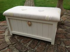 Hand crafted, hand painted blanket box with seat to the lid. Solid ...
