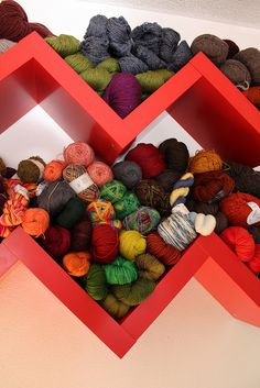 redoing the sewing room (again....moving it entirely to another room this time!) love this idea for yarn storage.....