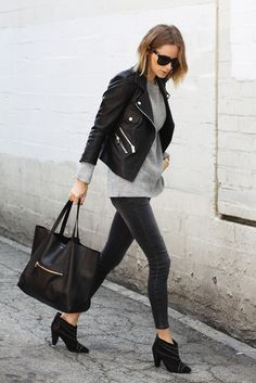 Rocker Outfits: She is probably the ultimate in terms of rocker style. A great example of how to strike the perfect balance between raw and cool. Via Anine Bing.Jacket/Jumper/Jeans/Shoes/Bag: Anine Bing