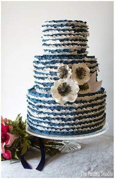 its all about the Anemones  Navy & White Ruffle Wedding Cake with Sugar-Paste Anemones by The Pastry Studio, Daytona Beach, Fl