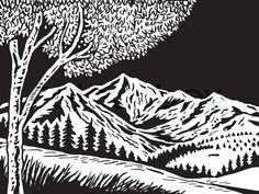 Tree And Mountain Scene Woodcut Vector Colourbox