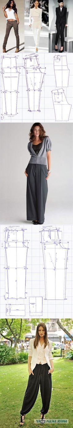 Четыре выкройки популярных моделей брюк...♥ Deniz ♥