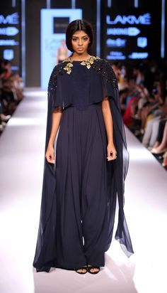 f4779c13feb0 RIDHI MEHRA Navy and gold sequins embroidered cape jumpsuit