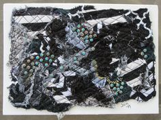 "Black and White Art Quilt, Abstract Fiber Art, Miniature Art Quilt, Unique Fiber Art, Home Decor, Shelf Art, Gift Idea, 7"" x 5"" by UniquelyJenCreations on Etsy"