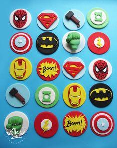healthy food recipes that taste good to be pregnant song Marvel Cupcakes, Avenger Cupcakes, Avenger Cake, Superhero Cookies, Superhero Cake, Fondant Cupcake Toppers, Cupcake Cakes, Avengers Birthday Cakes, Fondant Decorations
