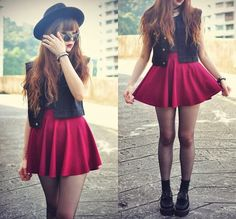 I love the red skater skirt and fedora, more chic than what i normally pin but still my style :)