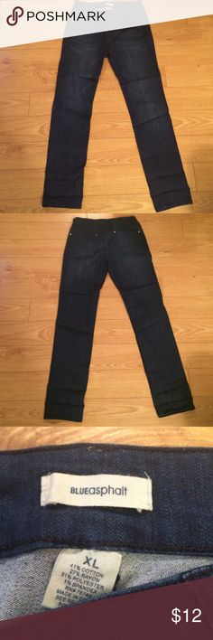 Blue Asphalt Perfect Denim Legging Super stretchy and soft jean legging in dark wash. Wet Seal XL, comparable to an 11/13 in Junior Jeans. 41% Cotton, 27% Rayon, 31% Polyester, 1% Spandex.  Only worn once. Hoping to bundle with the other two washes. Willing to negotiate. Blue Asphalt Pants Leggings