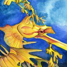 Aquarell Seepferdchen von Nina Vahrenkampf