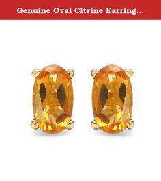 Genuine Oval Citrine Earrings in 10k Yellow Gold. 0.54 Carat Genuine Citrine 10K Yellow Gold Earrings 10K Yellow Gold .