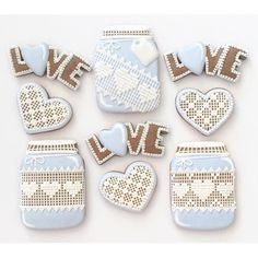 Gorgeous Cross-Stitch Cookie Set: Cookie Jars, Love and Hearts - Cookie Cutter Kingdom Heart Cookie Cutter, Set Cookie, Heart Cookies, Cookie Ideas, Mason Jar Cookies, Cookie Jars, Mason Jars, Cookies Et Biscuits, Sugar Cookies
