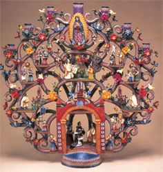 Alfonso and Marco Castillo Orta design and create the most incredible Arboles de La Vida (Trees of Life) and are featured in the book Great Masters of Mexican Folk Art.