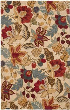 Safavieh Handmade Jardine Foliage Beige/ Multi Wool Rug - x Square x Square - Multi), Ivory Floral Area Rugs, Beige Area Rugs, Wool Area Rugs, Wool Rugs, Transitional Rugs, Blue Wool, Rug Making, Colorful Rugs, Hand Weaving
