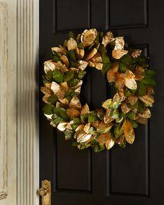 "Green+&+Gold+Magnolia+Leaf+28""+Wreath+at+Neiman+Marcus."