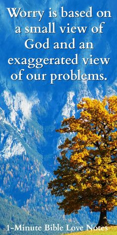 Worry is Based on a Small View of God and an Exaggerated view of our problems.
