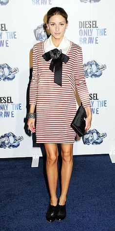 Olivia Palermo gets ready to set sail at the Diesel Only The Brave event in N.Y.C. wearing a red-and-white striped minidress with a bow tied at the neck.  August, 2009