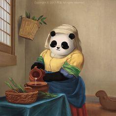 When Pandas Meet Arts Panda Love, Cute Panda, Panda Outfit, World Famous Paintings, Panda Painting, Panda Drawing, Panda Wallpapers, Panda Art, Gifs