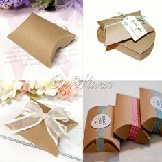 Wedding Gift Box New Style Kraft Pillow Shape Favor Party Candy Wholes