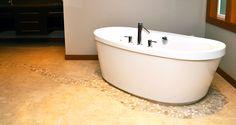 Porcelain Bathroom Floor with Rocks www.alltileinc.com Bathtub, Corner Bathtub, Bathroom Flooring, Flooring, Porcelain, Bathroom