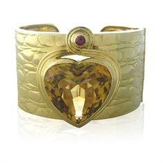 Vintage Gucci 18K Gold Citrine Ruby Heart Wide Cuff Bracelet @ oakgem.com