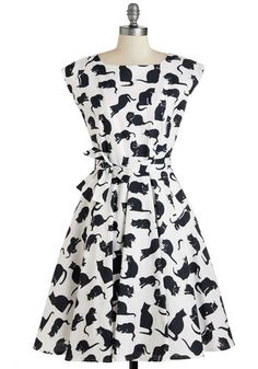 If I Cat Have You Dress - Black, White, Print with Animals, Print, Casual, Cats, A-line, Sleeveless, Woven, Long, Cotton