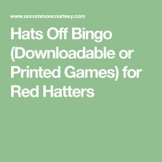 Hats Off Bingo (Downloadable or Printed Games) for Red Hatters