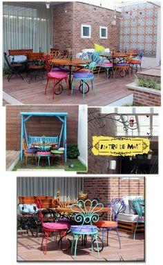 Cadeiras de ferro e coloridas, quero!!