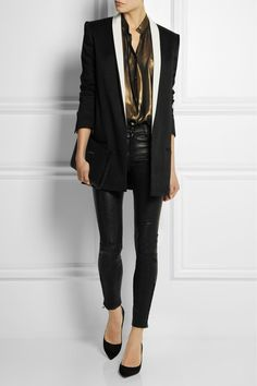 HAIDER ACKERMANN Linen-blend tuxedo jacket THE ROW Textured-leather clutch J BRAND L8001 stretch-leather skinny pants HAIDER ACKERMANN Metallic-coated chiffon shirt GIANVITO ROSSI Suede pumps MONICA VINADER Rose gold-plated diamond ring MONICA VINADER Rose gold-plated diamond eternity ring