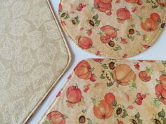 Pumpkin Sunflower Wedge Placemats Reversible 4 or 6 Fall Wedge Placemats Thanksgiving Placemats for round table Fall Autumn Home Table Decor