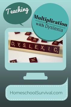 Teaching Multiplication with Dyslexia - Homeschool Survival Dyslexia Teaching, Teaching Math, Teaching Ideas, Dyslexia Strategies, Learning Resources, Kids Learning, Teaching Multiplication, Maths, Mind Reading Tricks