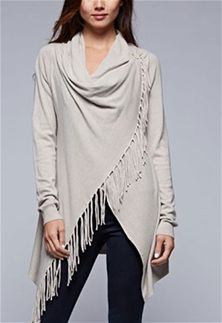 Love Stitch Carys Fringed Shawl Sweater with Button in Heather Stone Beige IMP5797-HTRSTONE