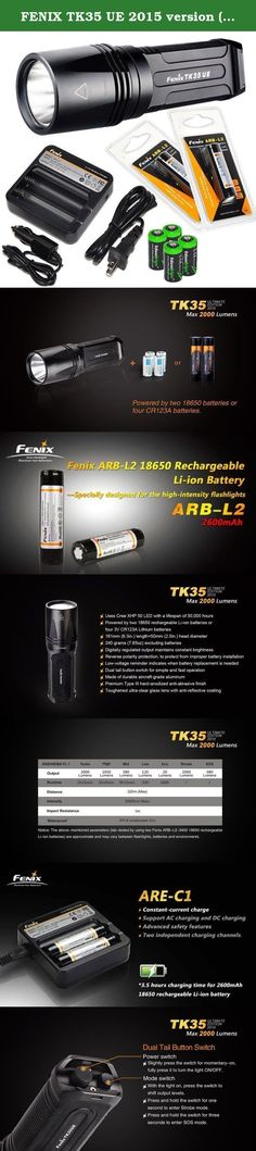 FENIX TK35 UE 2015 version (TK35 Ultimate Edition) 2000 Lumen CREE XHP 50 LED Tactical Flashlight with 2 x Fenix ARB-L2 2600mAh Li-ion rechargeable batteries, 4 X EdisonBright CR123A Lithium batteries, Fenix ARE-C1 18650 batery charger, in-car Charger adapter, Holster & Lanyard complete package. Product Features Modes of Operation >Eco: 20 Lumens (160 hours) >Low: 120 Lumens (33 hours) >Mid: 380 Lumens (9 hours 15 min.) >High: 1050 Lumens (3 hours 10 mins.) >Turbo: 2000 Lumens (1 hour 15...