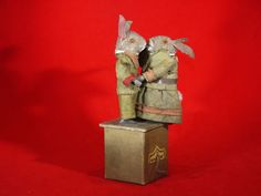 """Orig Antique Pr Musical 'Dancing' Rabbits Candy Container 8"""" h, Mohair/wood/Felt"""